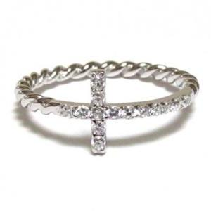 Sideways Cross Ring-925 Sterling Si..
