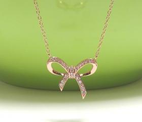 ADORABLE INFINITY BOW Necklace In Rose Gold Over Sterling Silver-16&quot;+2 Extender