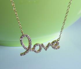 Script Letter Love Necklace-14 Kt Gold Over 925 Sterling Silver On 16'+2' Cable Chain