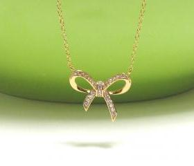 ADORABLE INFINITY BOW Necklace In 14 Kt Gold Over Sterling Silver-16'+2' Extender