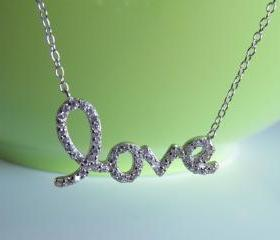 Script Letter Love Necklace-Rhodium Over 925 Sterling Silver On 16'+2' Cable Chain