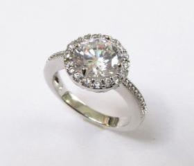 Halo CZ Ring-Rhodium Plated CZ Wedding Ring-Sizes 7 to 9