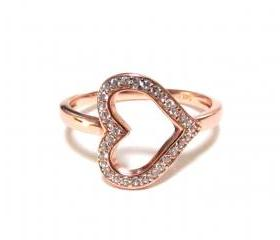 Sideways Heart RIng-Rose Gold Over 925 Sterling Silver Ring With CZ-Size 5 to 9