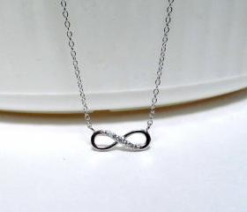 Infinity Necklace-Petite Rhodium Gold Over 925 Sterling Silver Necklace With CZ-18 inch Cable Chain