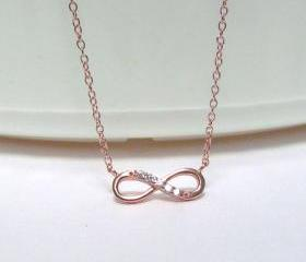 Infinity Necklace-Petite Rose Gold Over 925 Sterling Silver Necklace With CZ-18 inch Cable Chain