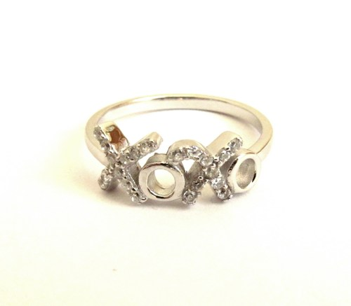 Hugs and Kisses Sterling Silver Ring with CZ - Sizes 5 -9