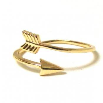 arrow ring 14 kt gold over sterling silver arrow ring in size 7