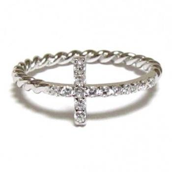 Sideways Cross Ring-Rhodium Over 925 Sterling Silver With Hand Set CZ Ring With Rope Band-Size 7