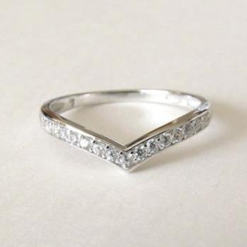 Sterling Silver Ring-Chervon Stacking Ring-CZ Ring