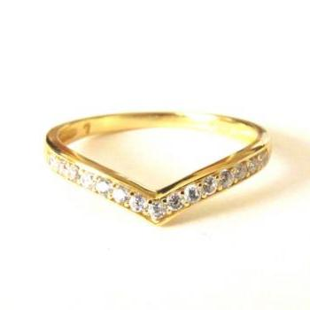 14 Kt Gold Over Sterling Silver Ring-Chervon Stacking Ring-CZ Ring