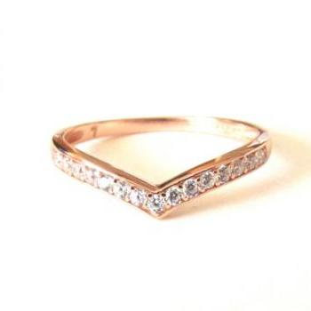 Rose Gold Over Sterling Silver Ring-Chervon Stacking Ring-CZ Ring