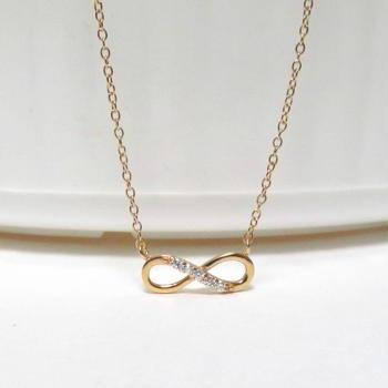 Infinity Necklace-Petite 14 Kt Gold Over 925 Sterling Silver Necklace With CZ-18 inch Cable Chain